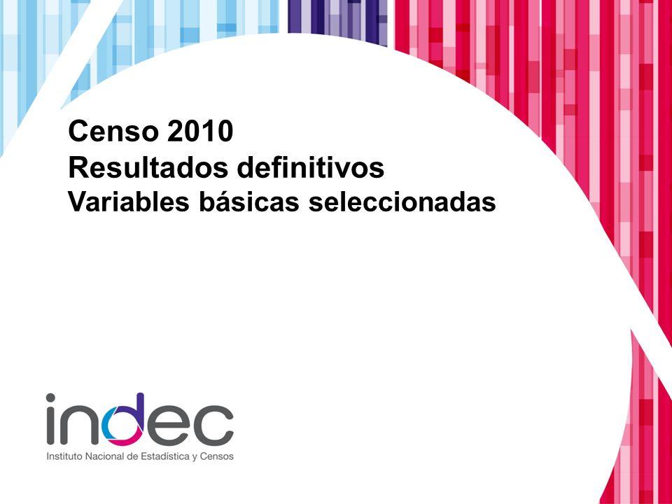 Censo 2010 Resultados definitivos Variables básicas seleccionadas
