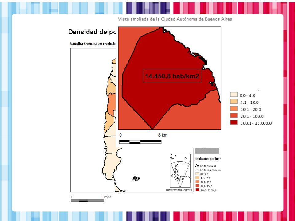 Densidad de población. Año 2010 14.450,8 hab/km2