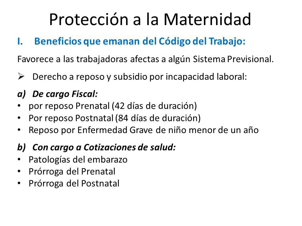 Protección a la Maternidad I.Beneficios que emanan del Código del Trabajo: Favorece a las trabajadoras afectas a algún Sistema Previsional. Derecho a