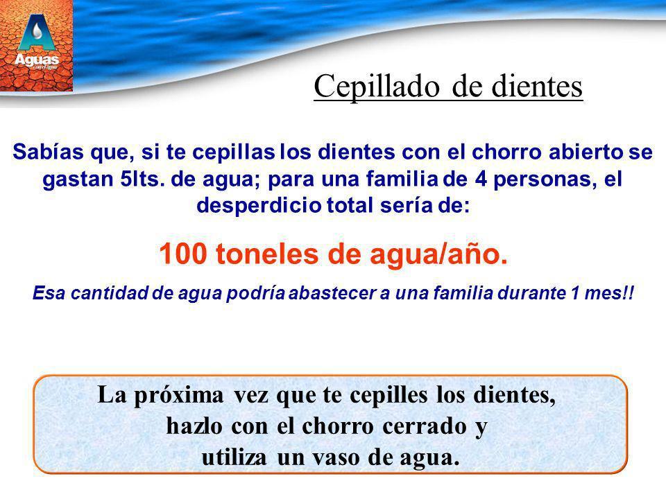 Cepillado de dientes Sabías que, si te cepillas los dientes con el chorro abierto se gastan 5lts. de agua; para una familia de 4 personas, el desperdi
