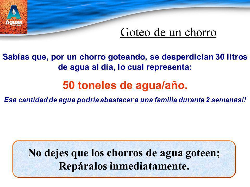 Goteo de un chorro Sabías que, por un chorro goteando, se desperdician 30 litros de agua al día, lo cual representa: 50 toneles de agua/año. Esa canti