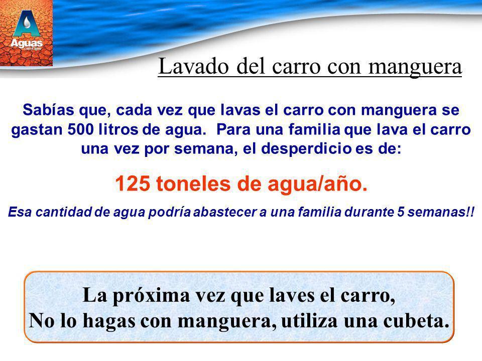 Lavado del carro con manguera Sabías que, cada vez que lavas el carro con manguera se gastan 500 litros de agua. Para una familia que lava el carro un