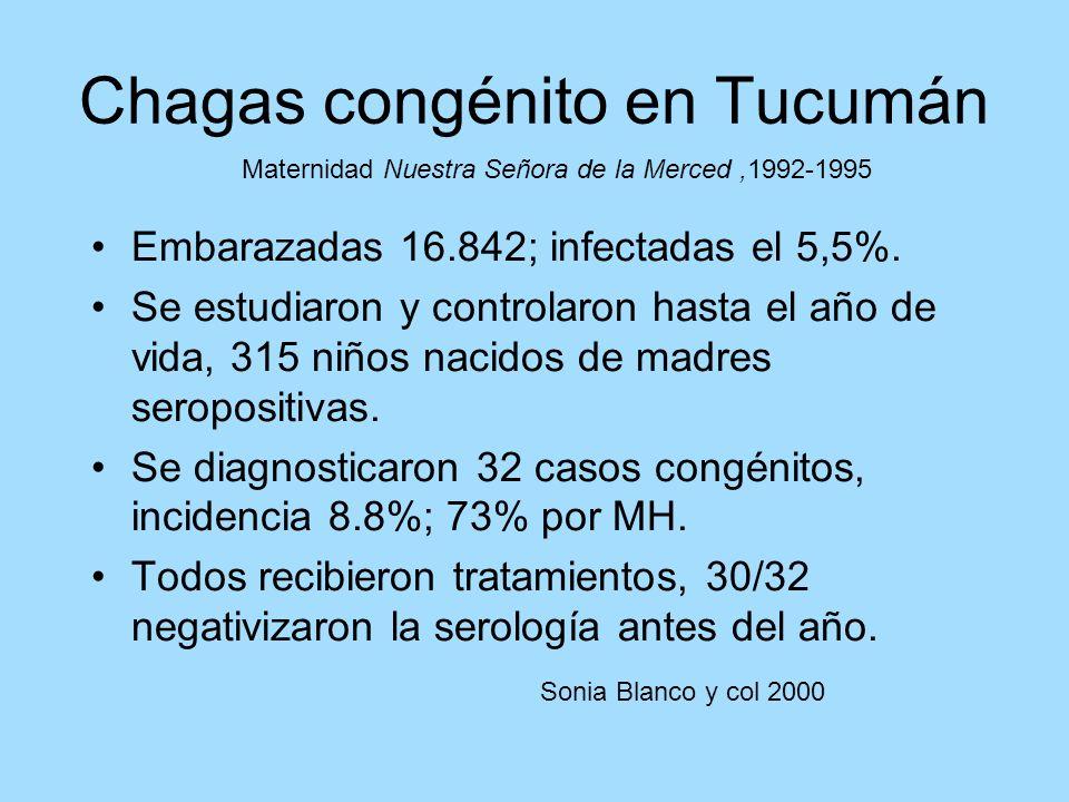 Embarazadas 16.842; infectadas el 5,5%. Se estudiaron y controlaron hasta el año de vida, 315 niños nacidos de madres seropositivas. Se diagnosticaron
