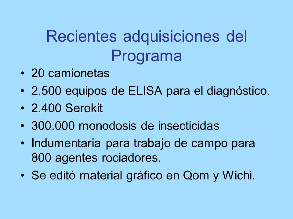 Recientes adquisiciones del Programa 20 camionetas 2.500 equipos de ELISA para el diagnóstico. 2.400 Serokit 300.000 monodosis de insecticidas Indumen