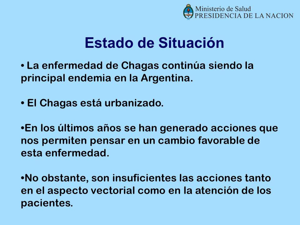 La enfermedad de Chagas continúa siendo la principal endemia en la Argentina. El Chagas está urbanizado. En los últimos años se han generado acciones
