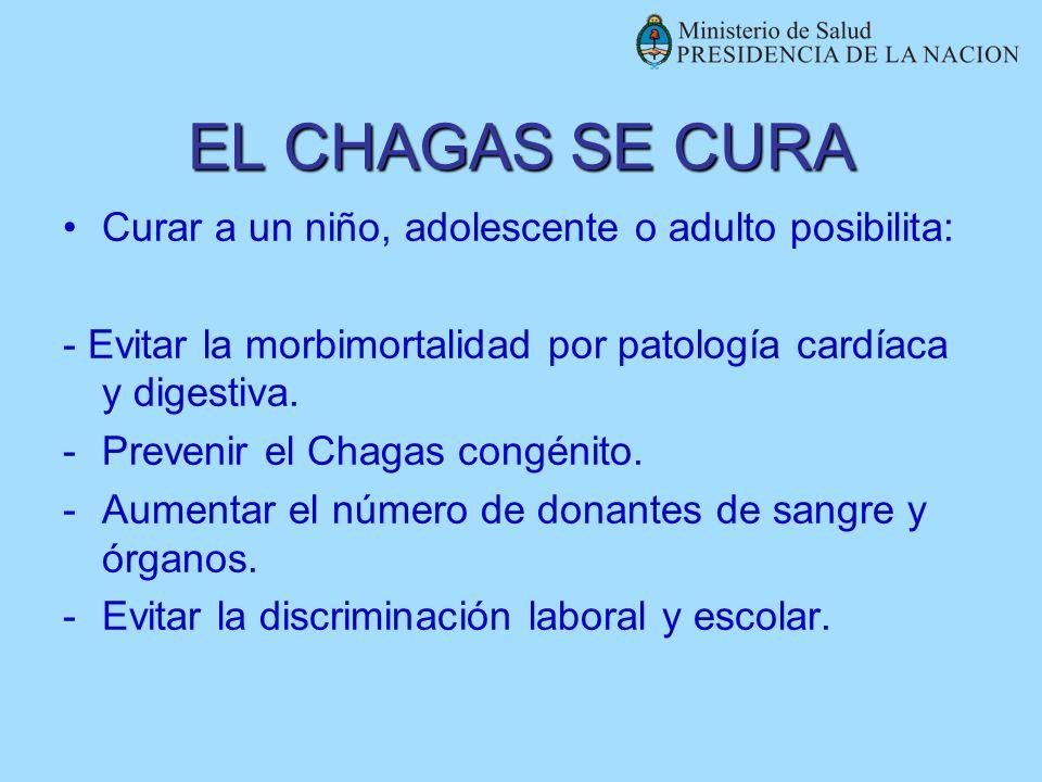 EL CHAGAS SE CURA Curar a un niño, adolescente o adulto posibilita: - Evitar la morbimortalidad por patología cardíaca y digestiva. -Prevenir el Chaga