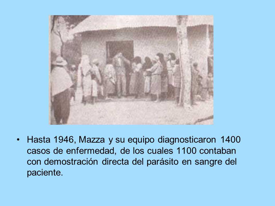 Hasta 1946, Mazza y su equipo diagnosticaron 1400 casos de enfermedad, de los cuales 1100 contaban con demostración directa del parásito en sangre del