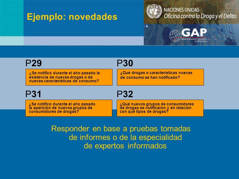 Ejemplo: novedades Responder en base a pruebas tomadas de informes o de la especialidad de expertos informados ¿Se notificó durante el año pasado la e