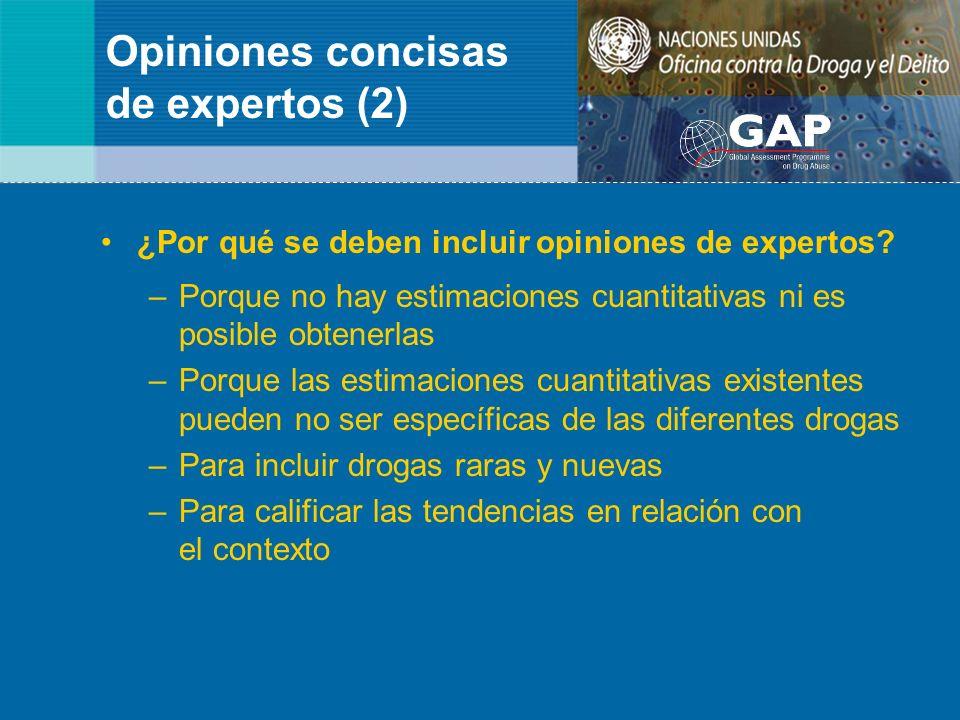 Opiniones concisas de expertos (2) ¿Por qué se deben incluir opiniones de expertos? –Porque no hay estimaciones cuantitativas ni es posible obtenerlas