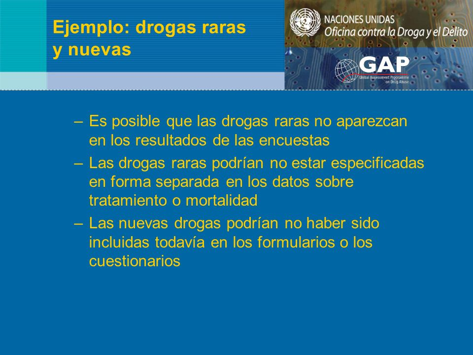 Ejemplo: drogas raras y nuevas –Es posible que las drogas raras no aparezcan en los resultados de las encuestas –Las drogas raras podrían no estar esp