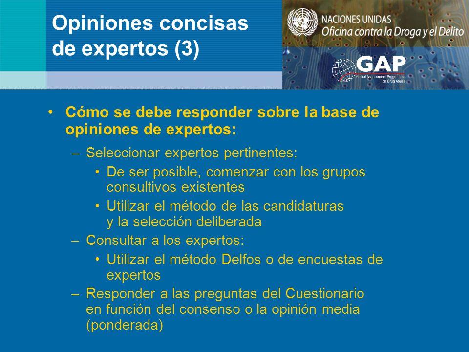 Opiniones concisas de expertos (3) Cómo se debe responder sobre la base de opiniones de expertos: –Seleccionar expertos pertinentes: De ser posible, c