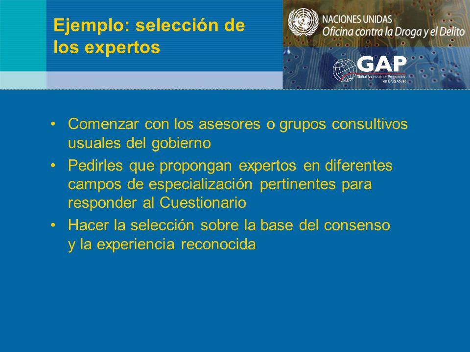 Ejemplo: selección de los expertos Comenzar con los asesores o grupos consultivos usuales del gobierno Pedirles que propongan expertos en diferentes c