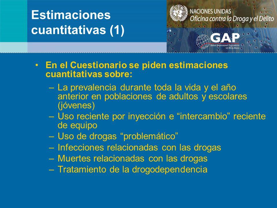 Estimaciones cuantitativas (1) En el Cuestionario se piden estimaciones cuantitativas sobre: –La prevalencia durante toda la vida y el año anterior en