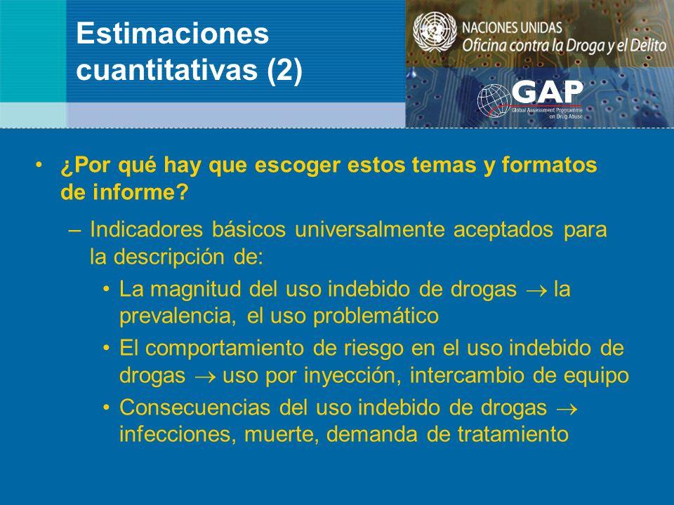 Estimaciones cuantitativas (2) ¿Por qué hay que escoger estos temas y formatos de informe? –Indicadores básicos universalmente aceptados para la descr