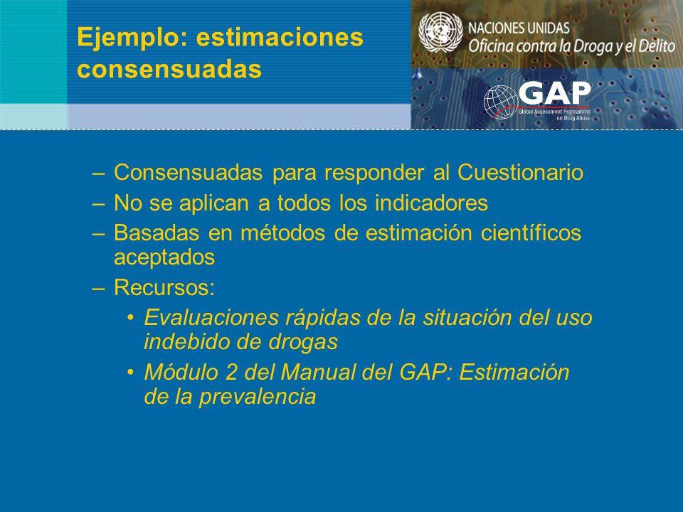 Ejemplo: estimaciones consensuadas –Consensuadas para responder al Cuestionario –No se aplican a todos los indicadores –Basadas en métodos de estimaci