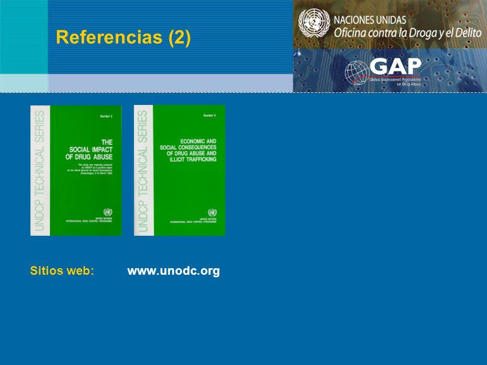 Referencias (2) Sitios web: www.unodc.org