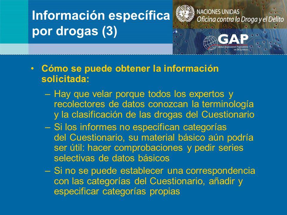 Información específica por drogas (3) Cómo se puede obtener la información solicitada: –Hay que velar porque todos los expertos y recolectores de dato