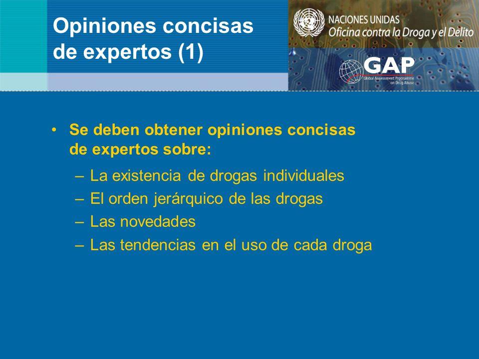 Opiniones concisas de expertos (1) Se deben obtener opiniones concisas de expertos sobre: –La existencia de drogas individuales –El orden jerárquico d