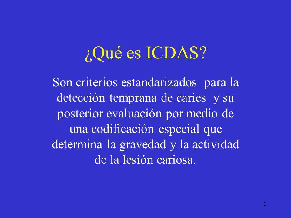 1 ¿Qué es ICDAS? Son criterios estandarizados para la detección temprana de caries y su posterior evaluación por medio de una codificación especial qu