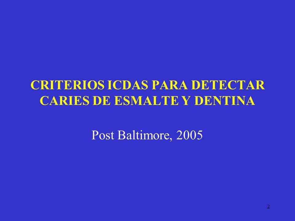 2 CRITERIOS ICDAS PARA DETECTAR CARIES DE ESMALTE Y DENTINA Post Baltimore, 2005