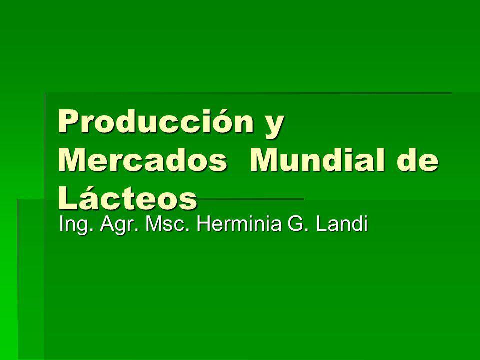 Producción Mundial de leche: 565.000millones de litros/año Estimada año 2010: 665.000millones de litros/año Comercio Internacional de lácteos: 7,7% del total
