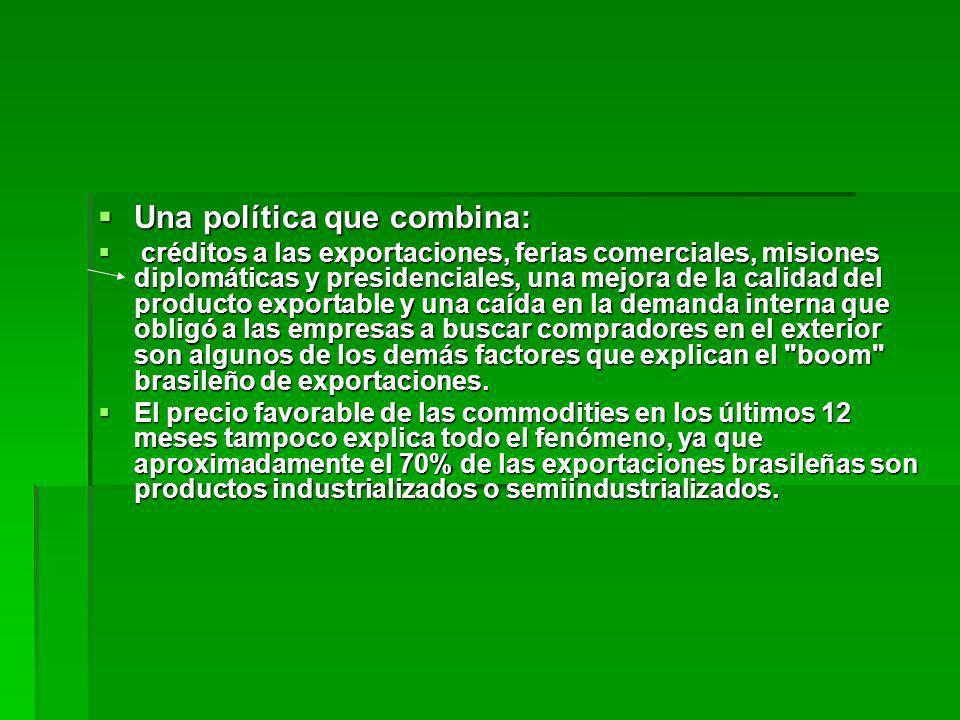 Una política que combina: Una política que combina: créditos a las exportaciones, ferias comerciales, misiones diplomáticas y presidenciales, una mejo