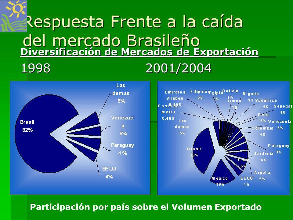Respuesta Frente a la caída del mercado Brasileño Diversificación de Mercados de Exportación 1998 2001/2004 Participación por país sobre el Volumen Ex