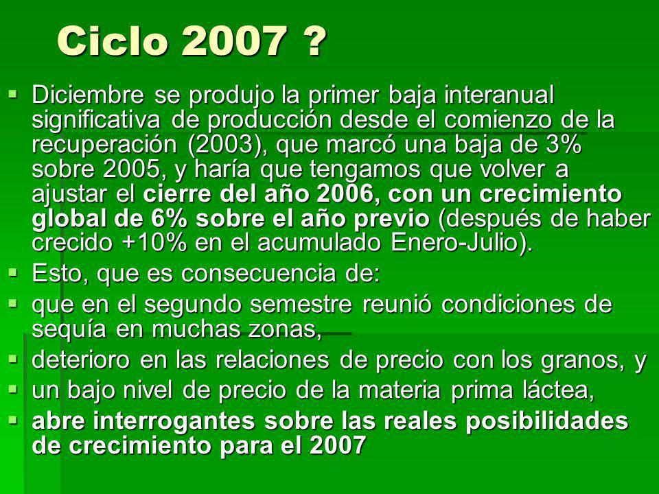Ciclo 2007 ? Diciembre se produjo la primer baja interanual significativa de producción desde el comienzo de la recuperación (2003), que marcó una baj
