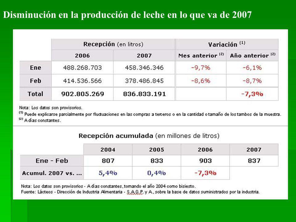 Disminución en la producción de leche en lo que va de 2007