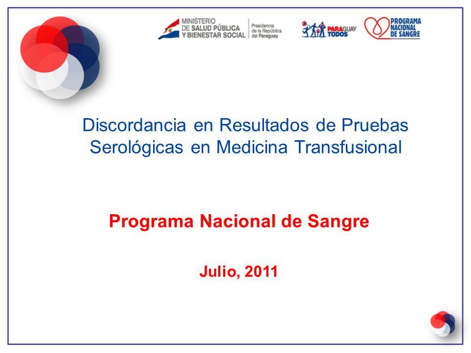 Programa Nacional de Sangre Julio, 2011 Discordancia en Resultados de Pruebas Serológicas en Medicina Transfusional