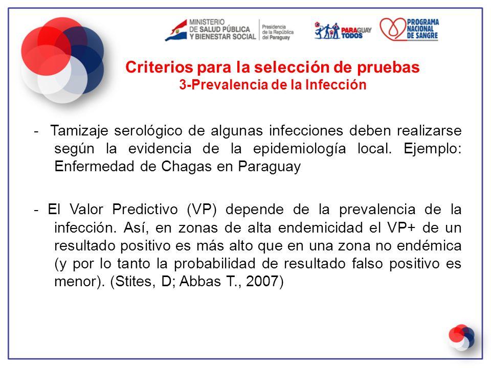 - Tamizaje serológico de algunas infecciones deben realizarse según la evidencia de la epidemiología local. Ejemplo: Enfermedad de Chagas en Paraguay