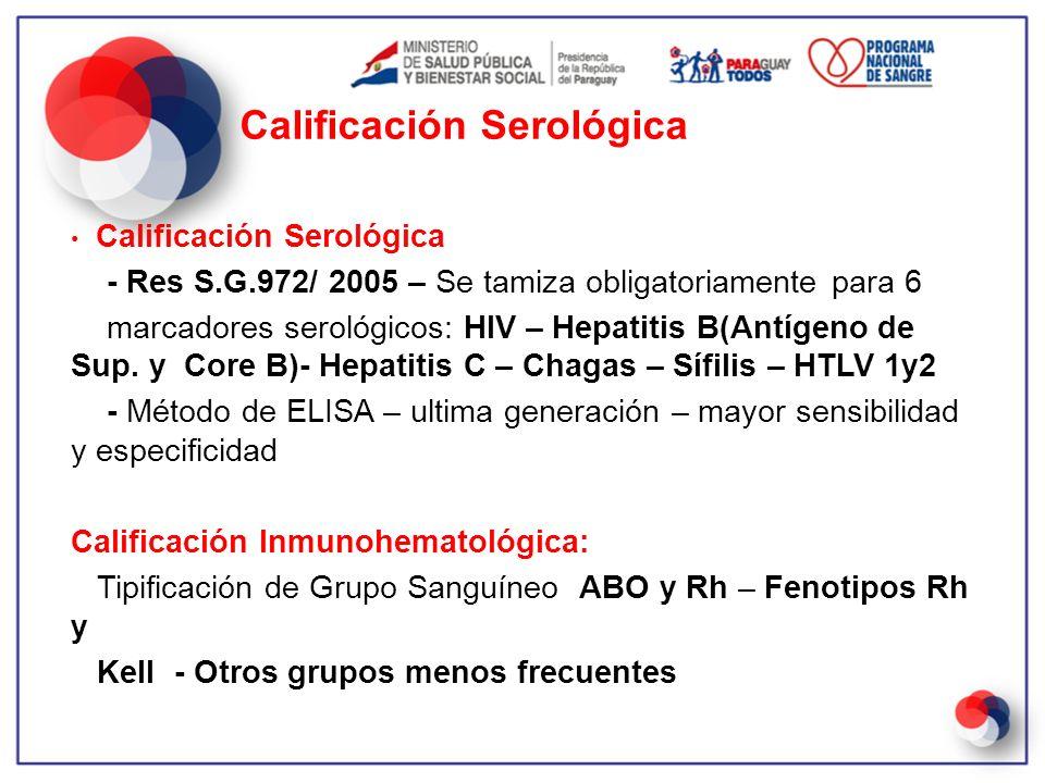 Calificación Serológica - Res S.G.972/ 2005 – Se tamiza obligatoriamente para 6 marcadores serológicos: HIV – Hepatitis B(Antígeno de Sup. y Core B)-