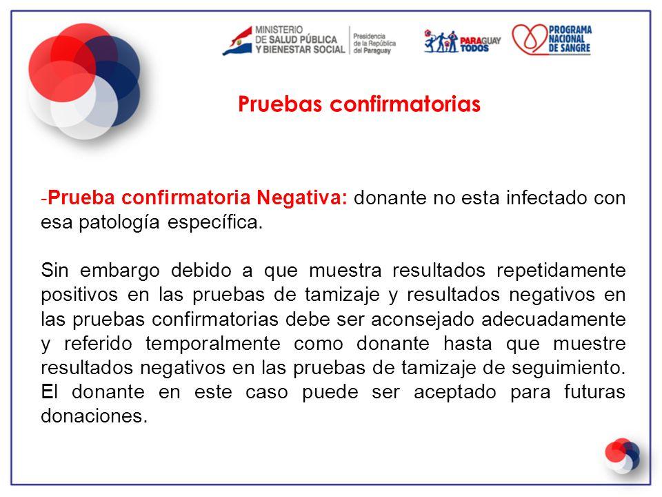 -Prueba confirmatoria Negativa: donante no esta infectado con esa patología específica. Sin embargo debido a que muestra resultados repetidamente posi