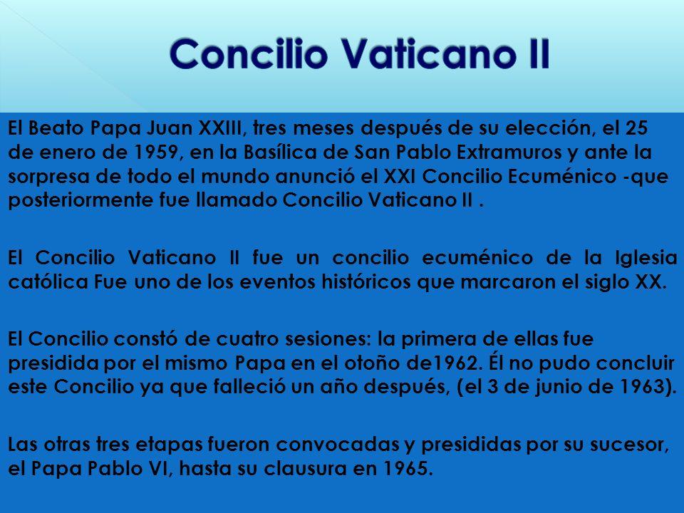 El Beato Papa Juan XXIII, tres meses después de su elección, el 25 de enero de 1959, en la Basílica de San Pablo Extramuros y ante la sorpresa de todo