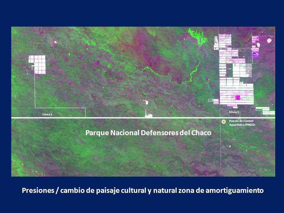 Parque Nacional Defensores del Chaco Línea 1 Puesto de Control Agua Dulce/PNDCh Presiones / cambio de paisaje cultural y natural zona de amortiguamien
