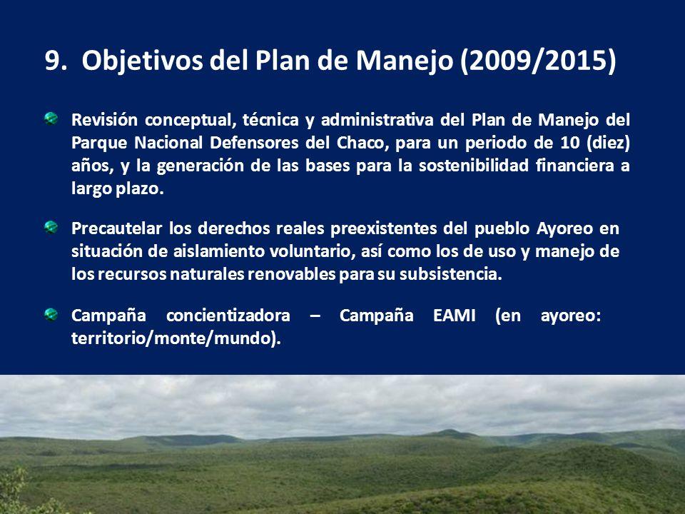 9. Objetivos del Plan de Manejo (2009/2015) Precautelar los derechos reales preexistentes del pueblo Ayoreo en situación de aislamiento voluntario, as