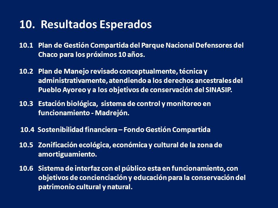 10. Resultados Esperados 10.1 Plan de Gestión Compartida del Parque Nacional Defensores del Chaco para los próximos 10 años. 10.2 Plan de Manejo revis