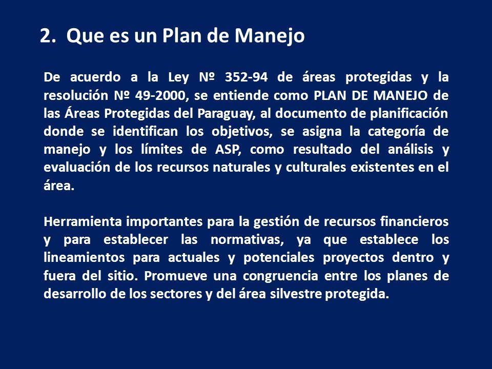 2. Que es un Plan de Manejo De acuerdo a la Ley Nº 352-94 de áreas protegidas y la resolución Nº 49-2000, se entiende como PLAN DE MANEJO de las Áreas