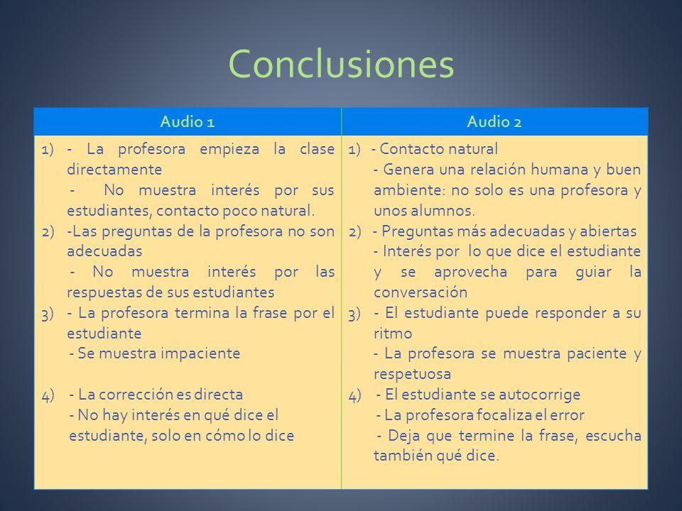Conclusiones Audio 1Audio 2 1)- La profesora empieza la clase directamente - No muestra interés por sus estudiantes, contacto poco natural. 2)-Las pre
