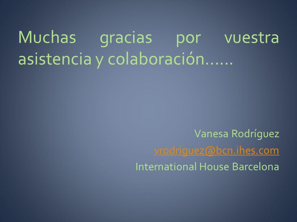 Muchas gracias por vuestra asistencia y colaboración...... Vanesa Rodríguez vrodriguez@bcn.ihes.com International House Barcelona