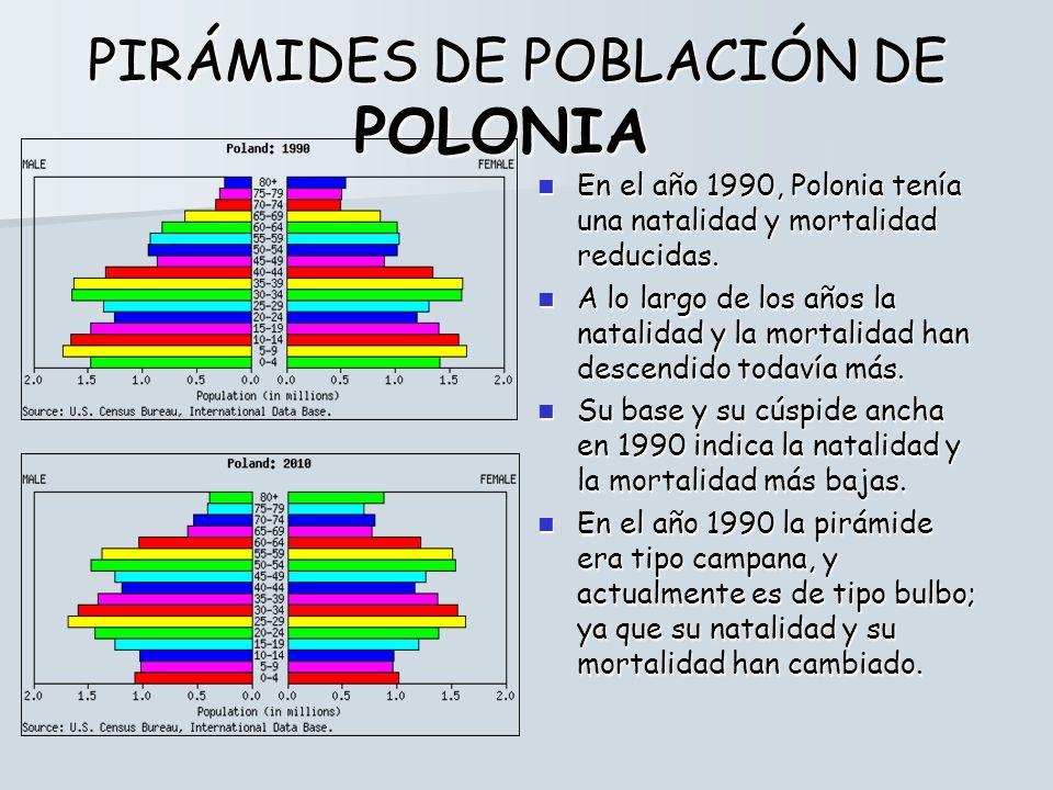 PIRÁMIDES DE POBLACIÓN DE POLONIA En el año 1990, Polonia tenía una natalidad y mortalidad reducidas. En el año 1990, Polonia tenía una natalidad y mo