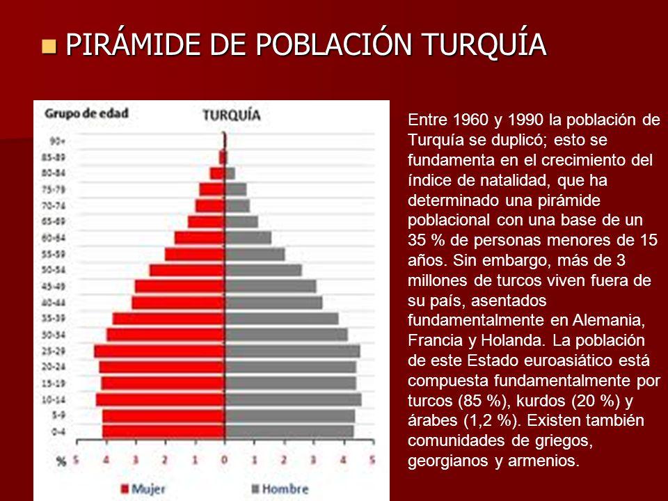 PIRÁMIDE DE POBLACIÓN TURQUÍA PIRÁMIDE DE POBLACIÓN TURQUÍA Entre 1960 y 1990 la población de Turquía se duplicó; esto se fundamenta en el crecimiento