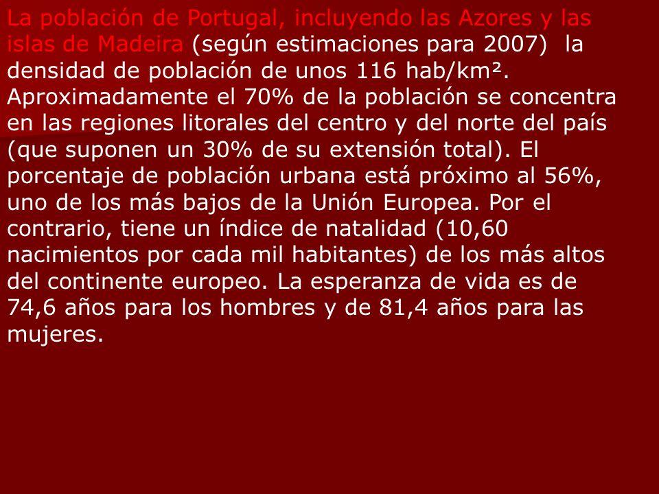 La población de Portugal, incluyendo las Azores y las islas de Madeira (según estimaciones para 2007) la densidad de población de unos 116 hab/km². Ap