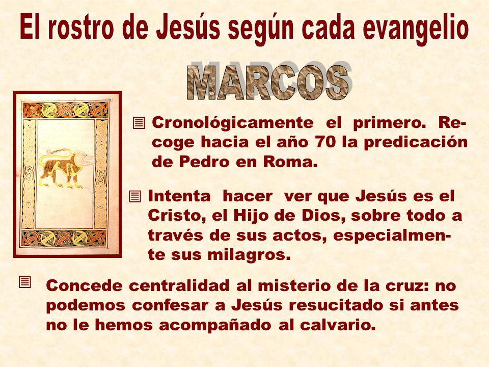Cronológicamente el primero. Re- coge hacia el año 70 la predicación de Pedro en Roma. Intenta hacer ver que Jesús es el Cristo, el Hijo de Dios, sobr