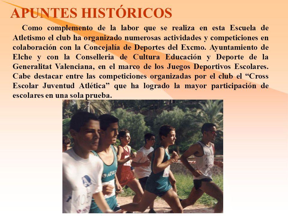 Como complemento de la labor que se realiza en esta Escuela de Atletismo el club ha organizado numerosas actividades y competiciones en colaboración con la Concejalía de Deportes del Excmo.