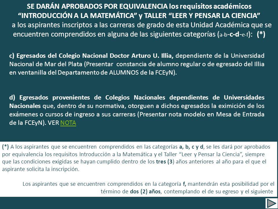 c) Egresados del Colegio Nacional Doctor Arturo U.