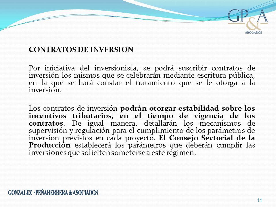 CONTRATOS DE INVERSION Por iniciativa del inversionista, se podrá suscribir contratos de inversión los mismos que se celebrarán mediante escritura púb
