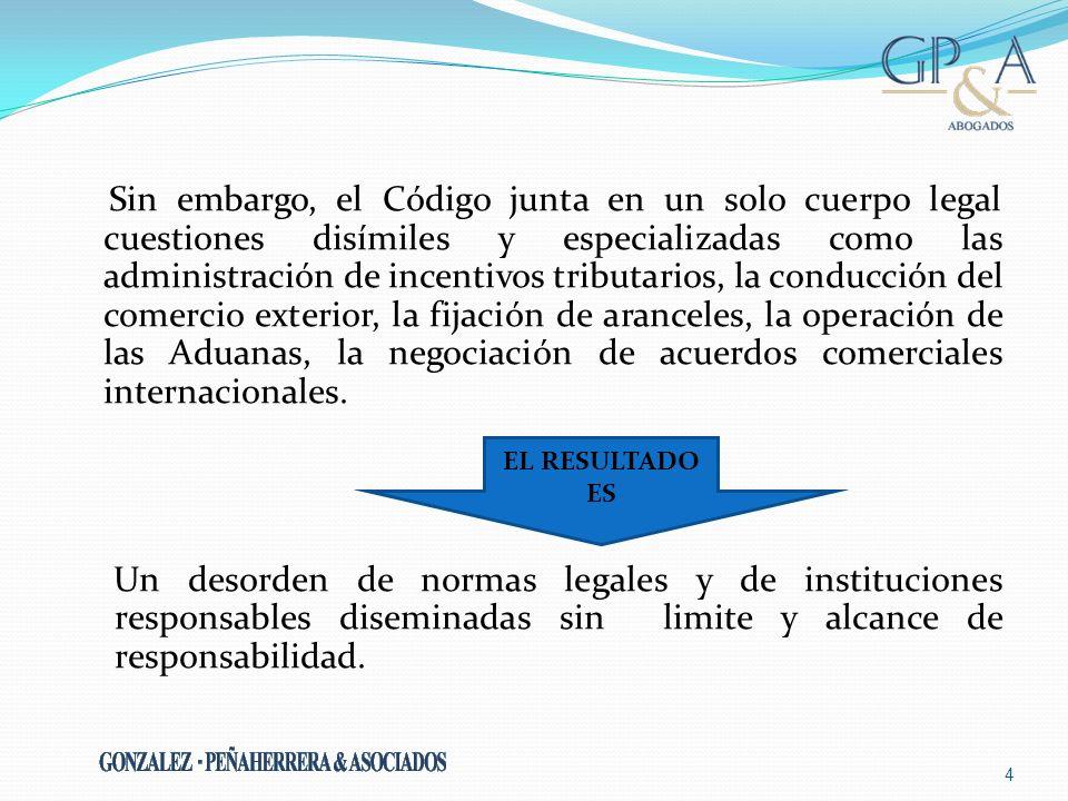 Sin embargo, el Código junta en un solo cuerpo legal cuestiones disímiles y especializadas como las administración de incentivos tributarios, la condu