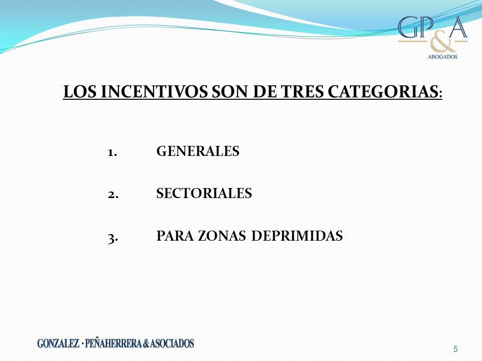 LOS INCENTIVOS SON DE TRES CATEGORIAS : 1. GENERALES 2. SECTORIALES 3. PARA ZONAS DEPRIMIDAS 5