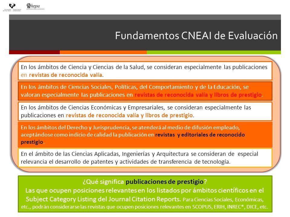Fundamentos CNEAI de Evaluación En los ámbitos de Ciencia y Ciencias de la Salud, se consideran especialmente las publicaciones en revistas de reconocida valía.
